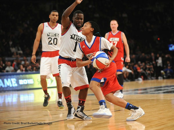 Mone-Davis-takes-Kevin-Hart-to-school-with-spin-move 2015-NBA-Celebrity-Game Photo-Credit Brad Barket Getty Images