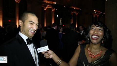 What's The 411 correspondent Kizzy Cox and National Book Award Finalist for Poetry, Adrian Matejka, having a good laugh at National Book Awards