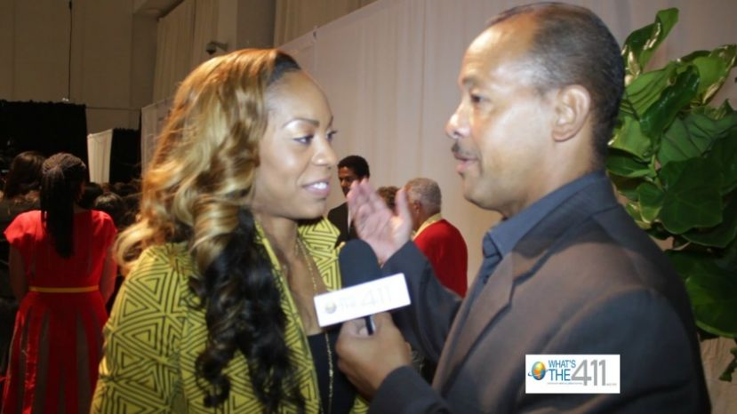 Olympic gold medalist Sanya Richards-Ross talking with What's The 411 reporter, Andrew Rosario at the USTA ICON Awards