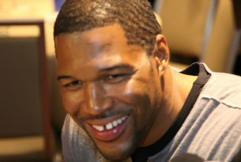 NFL Football Hall of Famer Michael Strahan at Super Bowl 2014 Radio Row in New York City