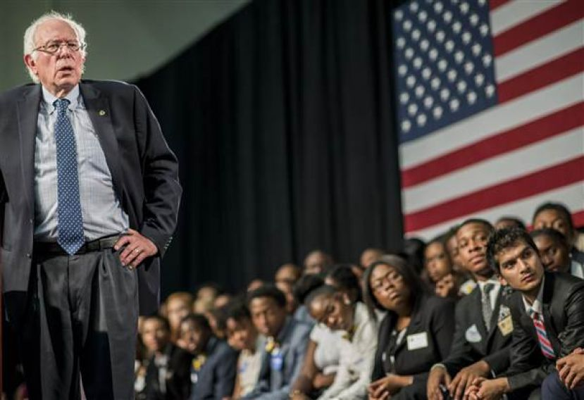 US Senator and US Presidential candidate, Bernie Sanders, taking his message to African-American college students