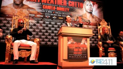 Boxers Floyd Mayweatherand Miguel Cott at a promotional event at the Apollo Theater