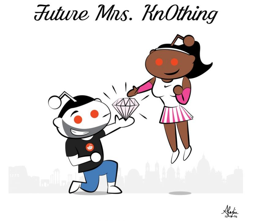 Cartoon image of Reddit Co-Founder, Alexis Ohanian, proposing to tennis superstar, Serena Williams