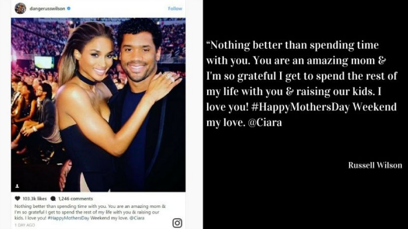 Photo of Russell Wilson and his wife, Ciara adjacent to Wilson's Mother's Day note posted on Instagram