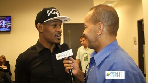 Boxer Danny Jacobs talking with What's The 411 reporter Andrew Rosario