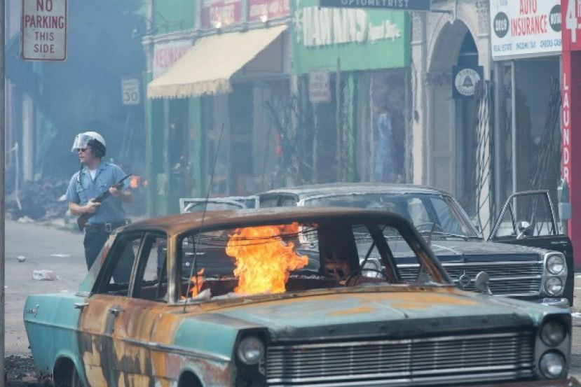 A riot scene in the film, Detroit