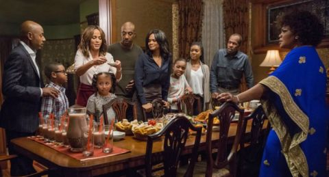 The cast of Almost Christmas featuring Danny Glover, Kimberly Elise, Omar Epps, Gabrielle Union and others. Written and directed by David E. Talbert