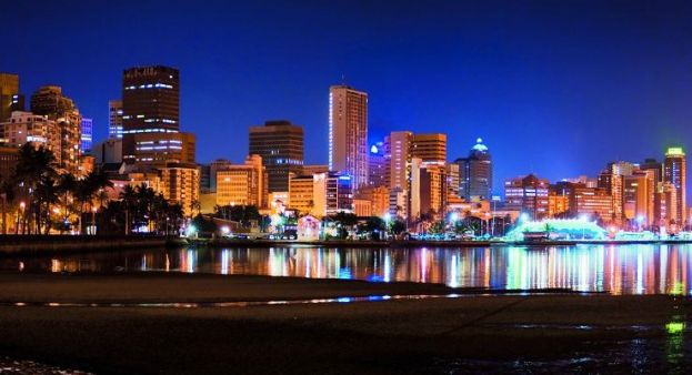 Durban, South Africa skyline at night
