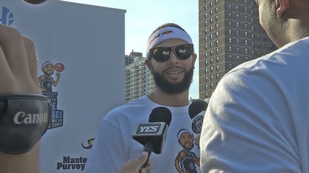 Brooklyn Nets Point Guard Deron Williams talking with reporters at his 5th Annual Celebrity Dodge Barrage
