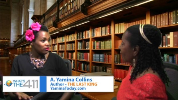 A. Yamina Collins, author of THE LAST KING, talking with What's The 411's book editor, Luvon Roberson