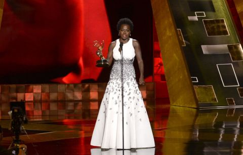 Actress Viola Davis giving her acceptance speech, after winning an Emmy Award for Outstanding Lead Actress in a Drama Series. She is the first black woman to do so.