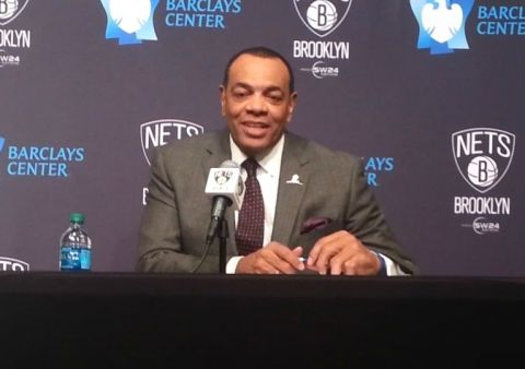 Brooklyn Nets head coach Lionel Hollins speaking with the media