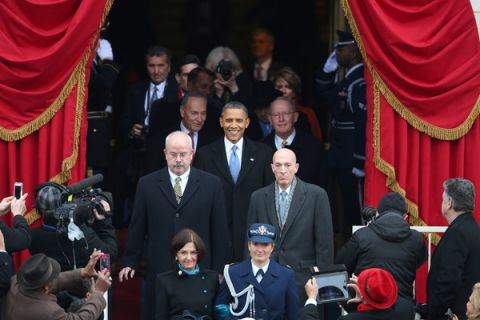 President Barack Obama entering the presidential podium to give his inaugural address after being elected President of the United States for the second time