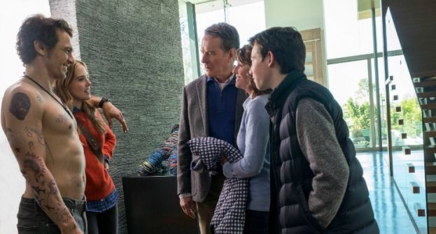 Cast of the movie, Why Him?, featuring (left to right) James Franco, Zoey Deutch, Bryan Cranston, Megan Mullally, and Griffin Gluck.