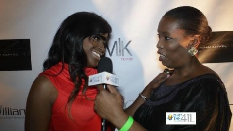 Barbara Bullard interviewing Kim Roxie at a New York Fashion Week event