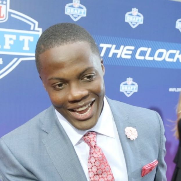 NFL Draftee Teddy Bridgewater talking with What's The 411Sports reporter Glenn Gilliam (off camera) on the red carpet at the NFL Draft
