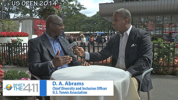D.A. Abrams, Chief Diversity and Inclusion Officer, U.S. Tennis Association, speaking with Glenn Gilliam, host of What's The 411Sports
