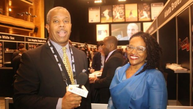 What's The 411Sports host, Glenn Gilliam, talking with Wendy Lewis, Vice President of Diversity and Strategic Alliances at Major League Baseball