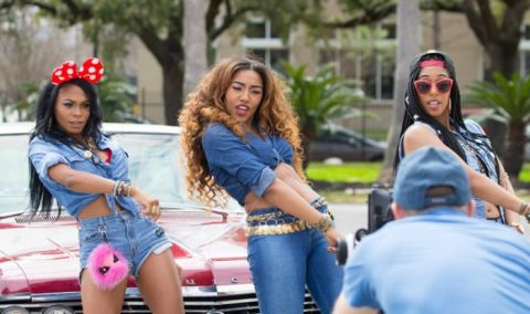 Blushhh Music (l to r) Bunni Ray, Tali, and Sunnie on the set of their music video for their debut single, Old School Back