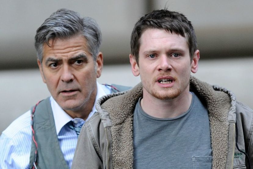 Money Monster film art featuring George Clooney (left) and Jack O'Connell