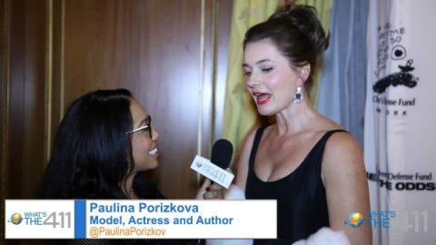 Model, actress, and author, Paulina Porizkova, talking with What's The 411TV's Courtney Rashon on the red carpet at the Children's Defense Fund's annual gala.