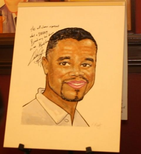 Caricature of Academy Award-winning actor Cuba Gooding Jr., which he received and will hang at Sardi's restaurant in New York City