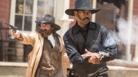 Denzel Washington and Peter Sarsgaard in The Magnificent Seven