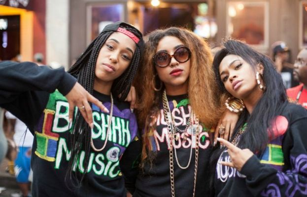 Blushhh Music (l to r) Sunnie, Tali, and Bunni Ray at SXSW. promoting their debut single, Old School Back