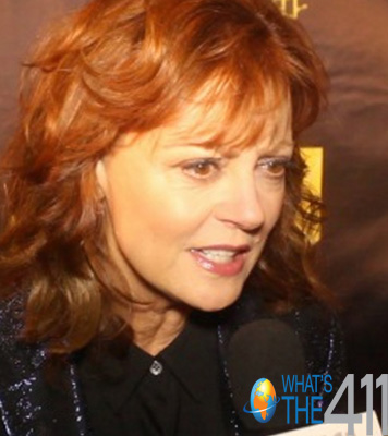 Susan Sarandon being interviewed by What's The 411TV reporter Bianca Peart