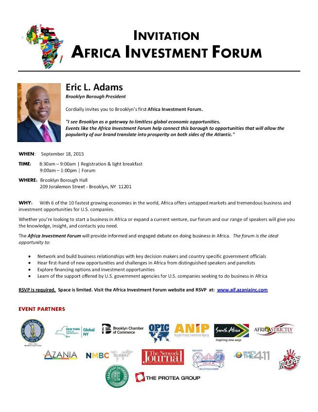 Africa Investment Forum Brooklyn Borough President Memo