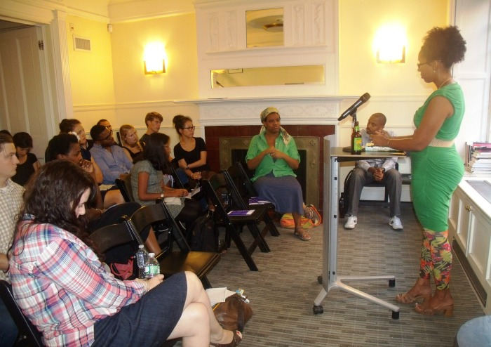 Author Tiphanie-Yanique Taking-questions-from-audience NYU-Lillian-Vernon-Writers-House 09122014 ressized 700x494