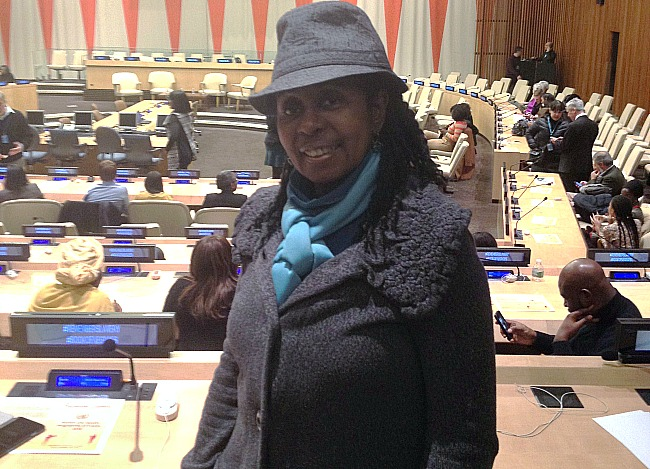 Book of Negroes  Book Editor Luvon Roberson at her seat in Economic and Social Council Chamber  at UN Photo by Luvon  Roberson 650x469
