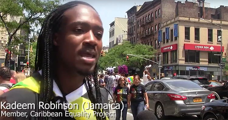 Caribbean reveler Kadeem Robinson from Jamaica at 2018 Gay Pride parade