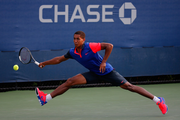 Michael-Mmoh 2014-US-OPEN Junior-Boys-Singles-First-Round-against-Yunseong-Chung Chris-Trotman Getty-Images