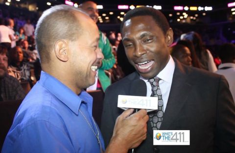 What's the 411Sports reporter Andrew Rosrio talking with Brooklyn Nets head coach Avery Johnson at the Danny Garcia v. Erik Morales fight at the Barclays Center in Brooklyn