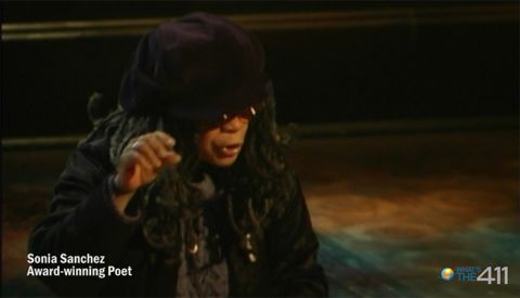 Award-winning poet extraordinaire Sonia Sanchez rehearsing for Def Poetry Jam