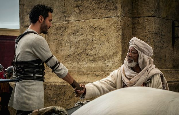 Jack Huston as Ben-Hur and Morgan Freeman as Sheik Ilderim