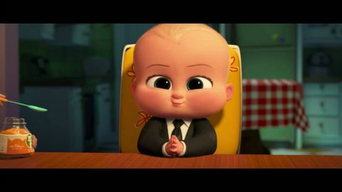 Baby Boss voiced by Alec Baldwin at meal time.