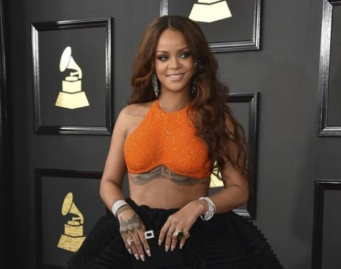 Rihanna receives a Humanitarian of the Year award from Harvard University (Photo from Rihanna's arrival at the 59th Grammy Awards in Los Angeles on February 12, 2017)