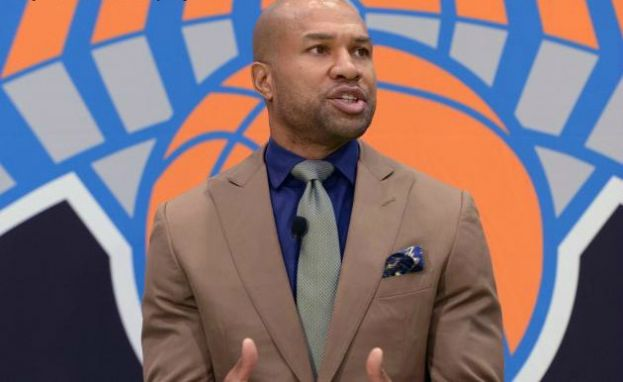 Derek Fisher speaking to the New York media after being named head coach of the New York Knicks