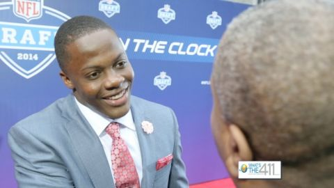NFL Draftee, Teddy Bridgewater, greeting What's The 411Sports host, Glenn Gilliam at the 2014 NFL Draft
