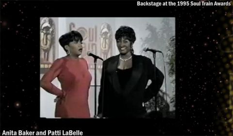Award-winning singers Anita Baker (r) and Patti LaBelle are talking with the media backstage at the 1995 Soul Train Awards