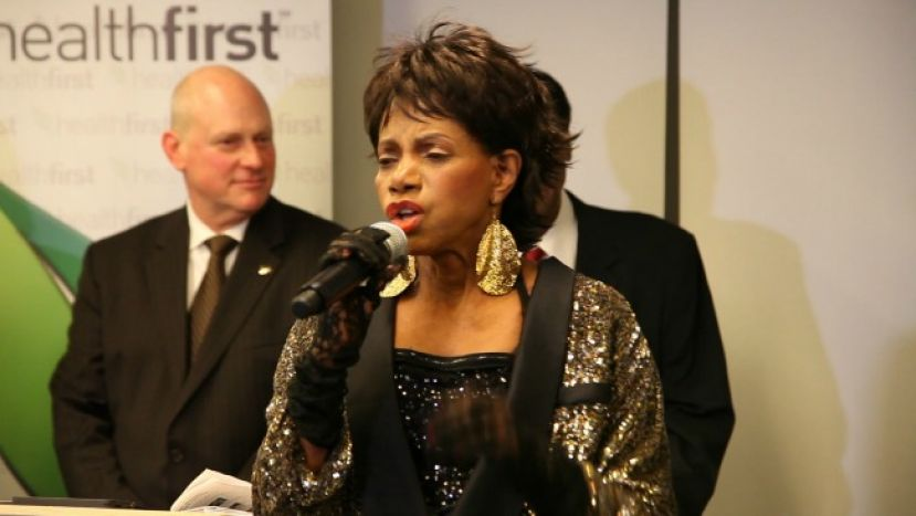 Tony Award-winning and Grammy-nominated actress/singer, Melba Moore, singing before receiving her Living Legend Award at the HealthFirst Black History Month celebration