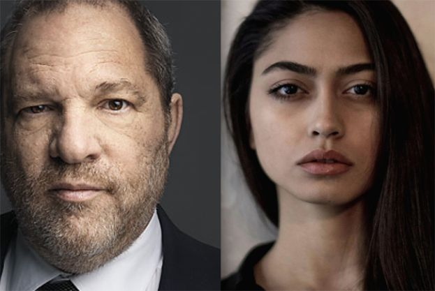 Harvey Weinstein (l) and Italian model, Ambra Battalina Gutierrez, who accused Weinstein of sexual assault in 2015, and Cy Vance, the Manhattan District Attorney (New York) would not take the case