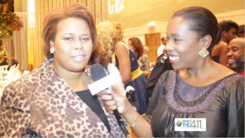 Dionne Williams (left), founder of EMERGE! A Fashion Runway Show, talking with What's The 411TV correspondent Barbara Bullard