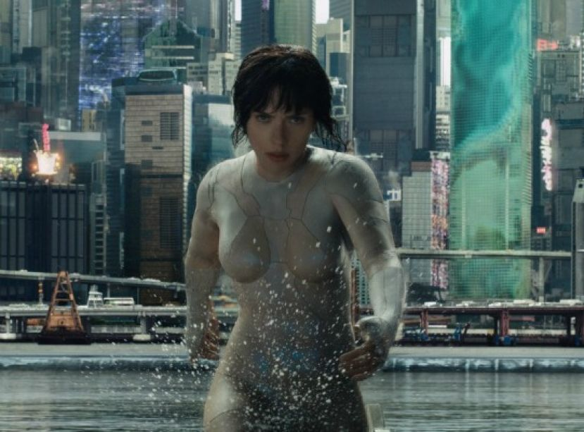 Scarlett Johannsson in the movie, Ghost in the Shell.