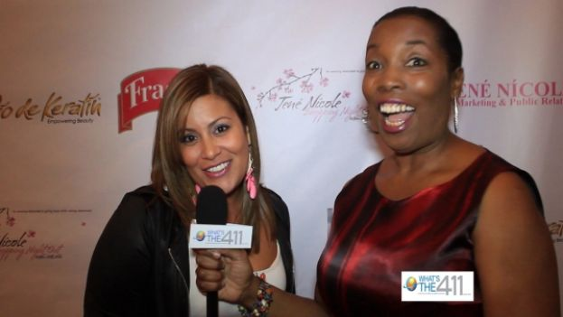 Nadine Ramos, CEO and Founder, Lasio, Inc., and sponsor of Shopping Night Out, talking with What's The 411TV correspondent, Barbara Bullard on the Shopping Night Out red carpet