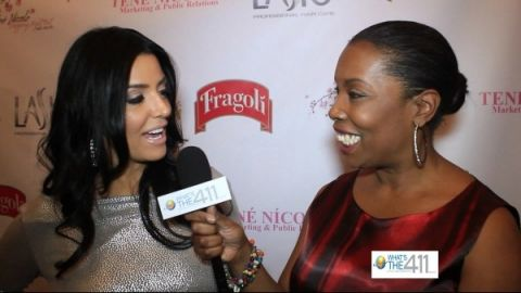 Ramona Rizzo, Mob Wives, reality TV personality, talking with What's The 411TV' correspondent Barbara Bullard at Shopping Night Out
