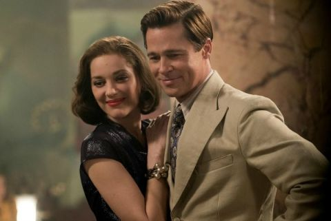 Actors, Marion Cotillard and Brad Pitt, in the movie Allied