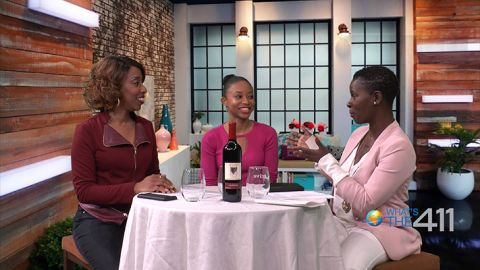 Singer/Songwriter, Cindy Rainne (center), talking with award-winning journalist, Kizzy Cox (left), and comedian Onika McLean on the set of What's The 411.
